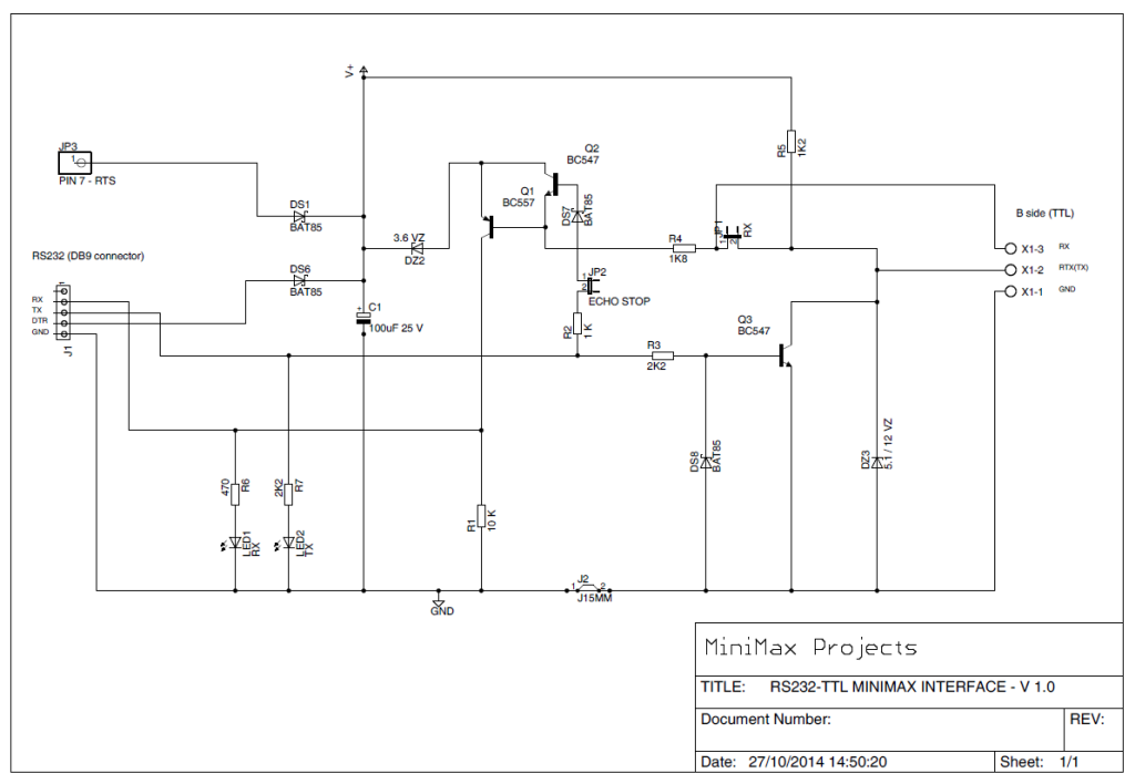 RS232 TTL MiniMax multiform interface - Schematic